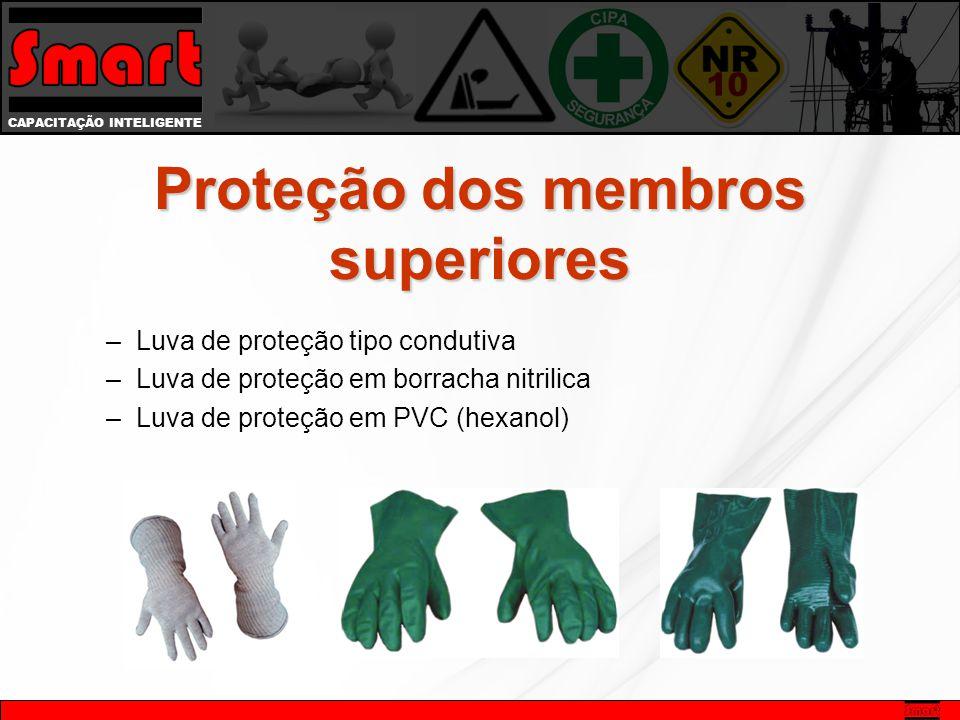 CAPACITAÇÃO INTELIGENTE –Luva de proteção tipo condutiva –Luva de proteção em borracha nitrilica –Luva de proteção em PVC (hexanol) Proteção dos membros superiores