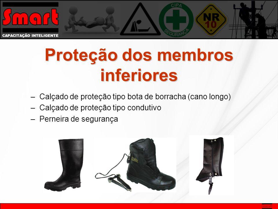 CAPACITAÇÃO INTELIGENTE Proteção dos membros inferiores –Calçado de proteção tipo bota de borracha (cano longo) –Calçado de proteção tipo condutivo –Perneira de segurança