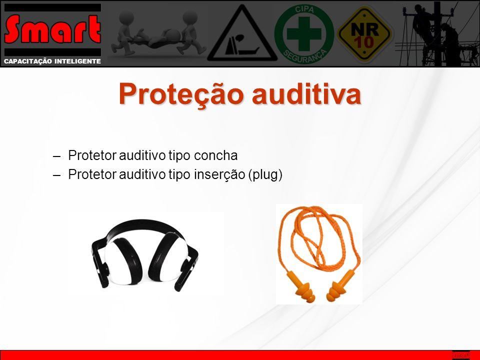 CAPACITAÇÃO INTELIGENTE Proteção auditiva –Protetor auditivo tipo concha –Protetor auditivo tipo inserção (plug)