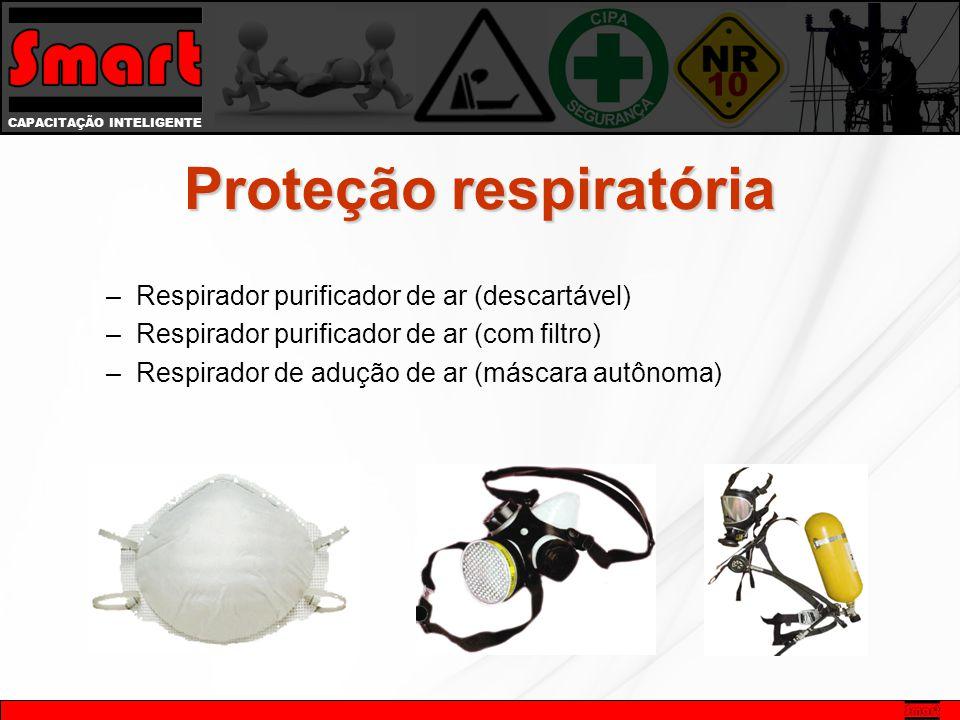 CAPACITAÇÃO INTELIGENTE Proteção respiratória –Respirador purificador de ar (descartável) –Respirador purificador de ar (com filtro) –Respirador de adução de ar (máscara autônoma)