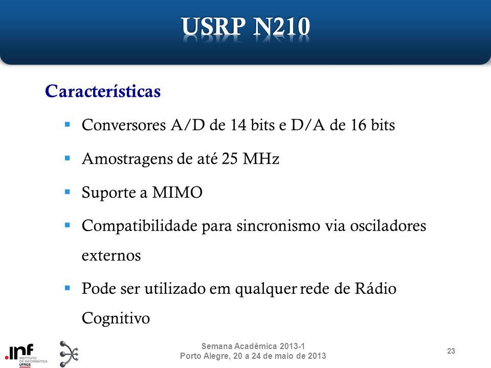 23 Semana Acadêmica 2013-1 Porto Alegre, 20 a 24 de maio de 2013 Características Conversores A/D de 14 bits e D/A de 16 bits Amostragens de até 25 MHz