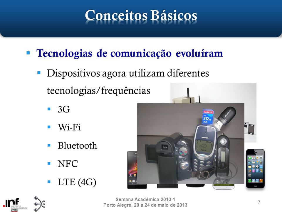 Tecnologias de comunicação evoluíram Dispositivos agora utilizam diferentes tecnologias/frequências 3G Wi-Fi Bluetooth NFC LTE (4G) 7 Semana Acadêmica