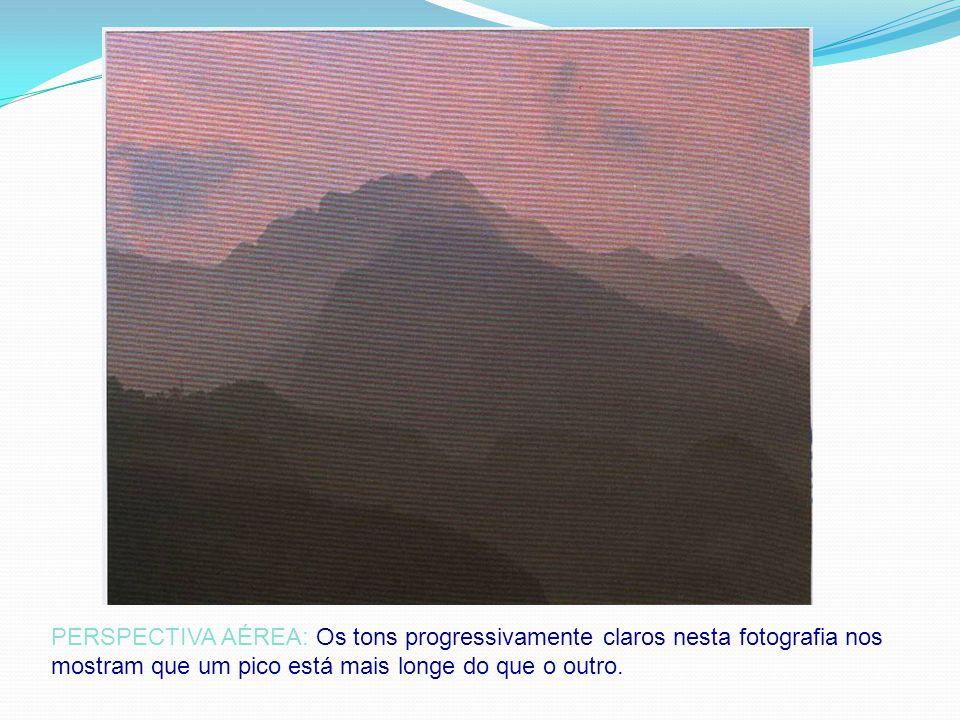 PERSPECTIVA AÉREA: Os tons progressivamente claros nesta fotografia nos mostram que um pico está mais longe do que o outro.