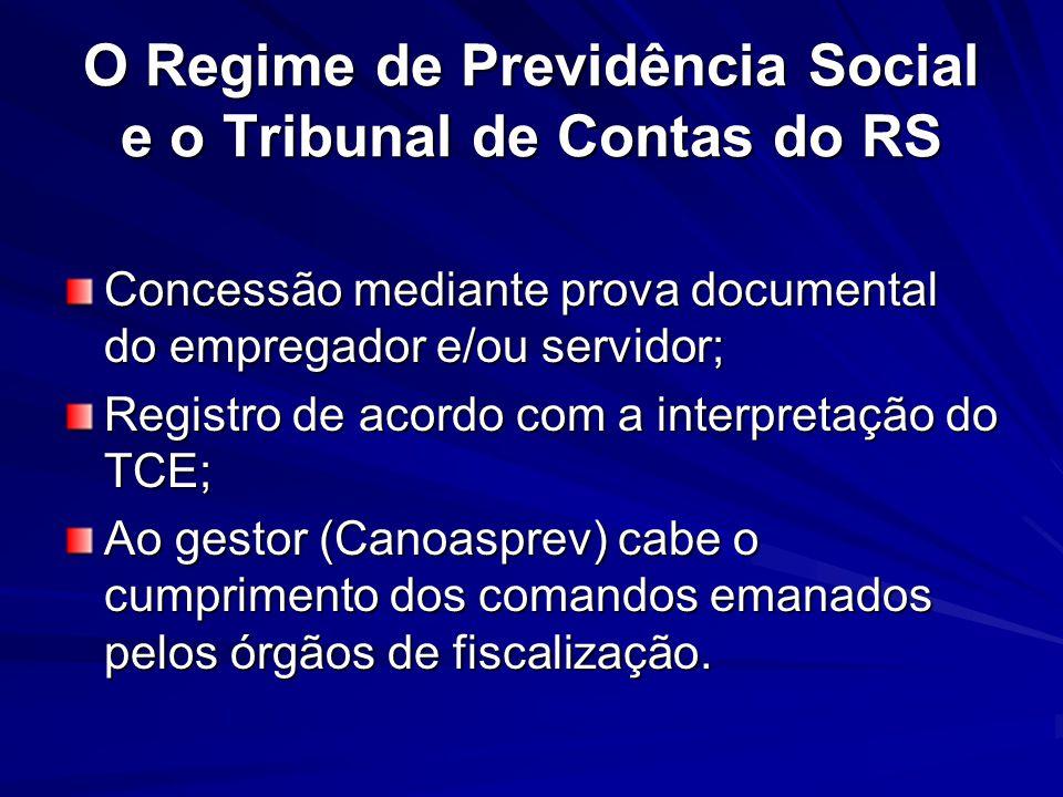O Regime de Previdência Social e o Tribunal de Contas do RS Concessão mediante prova documental do empregador e/ou servidor; Registro de acordo com a