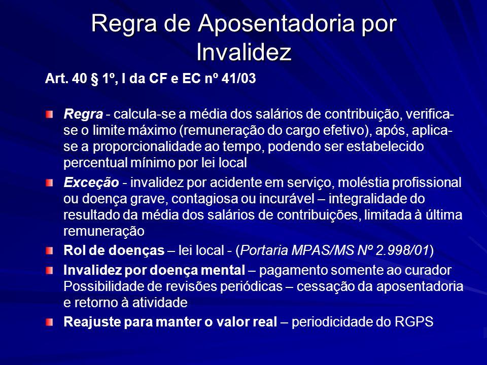 Regra de Aposentadoria por Invalidez Art. 40 § 1º, I da CF e EC nº 41/03 Regra - calcula-se a média dos salários de contribuição, verifica- se o limit