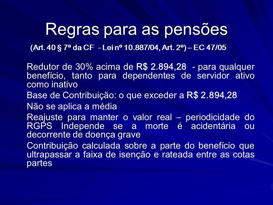 Regras para as pensões (Art. 40 § 7º da CF - Lei nº 10.887/04, Art. 2º) – EC 47/05 Redutor de 30% acima de R$ 2.894,28 - para qualquer benefício, tant