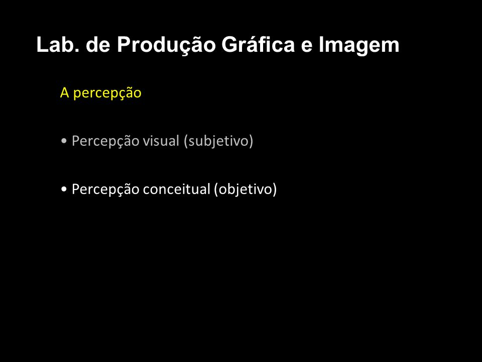 A percepção Percepção visual (subjetivo) Percepção conceitual (objetivo) Lab. de Produção Gráfica e Imagem