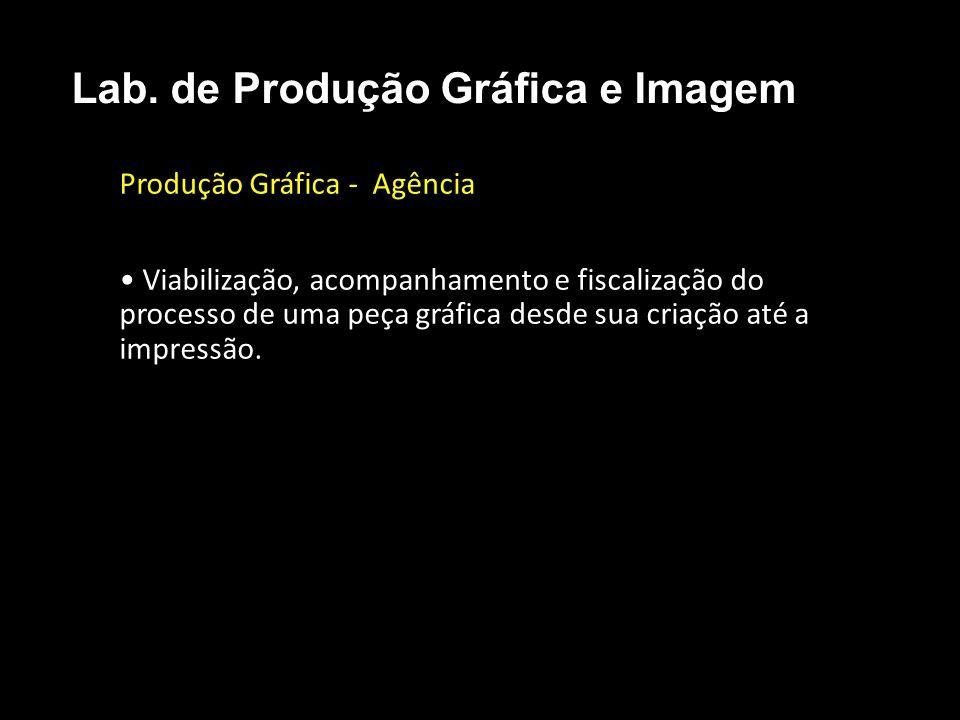 Produção Gráfica - Agência Viabilização, acompanhamento e fiscalização do processo de uma peça gráfica desde sua criação até a impressão. Lab. de Prod