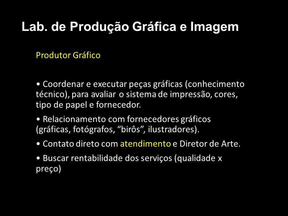 Produtor Gráfico Coordenar e executar peças gráficas (conhecimento técnico), para avaliar o sistema de impressão, cores, tipo de papel e fornecedor. R