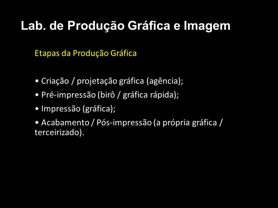 Etapas da Produção Gráfica Criação / projetação gráfica (agência); Pré-impressão (birô / gráfica rápida); Impressão (gráfica); Acabamento / Pós-impres