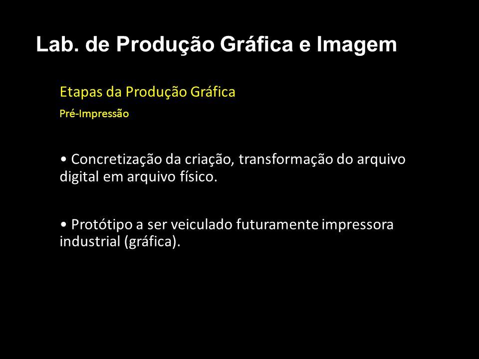 Etapas da Produção Gráfica Pré-Impressão Concretização da criação, transformação do arquivo digital em arquivo físico. Protótipo a ser veiculado futur