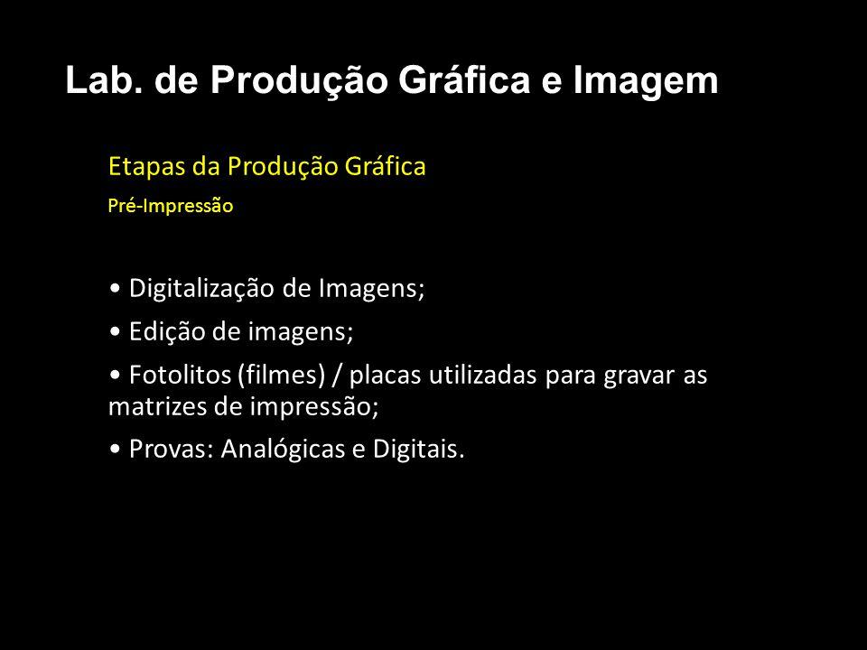 Etapas da Produção Gráfica Pré-Impressão Digitalização de Imagens; Edição de imagens; Fotolitos (filmes) / placas utilizadas para gravar as matrizes d