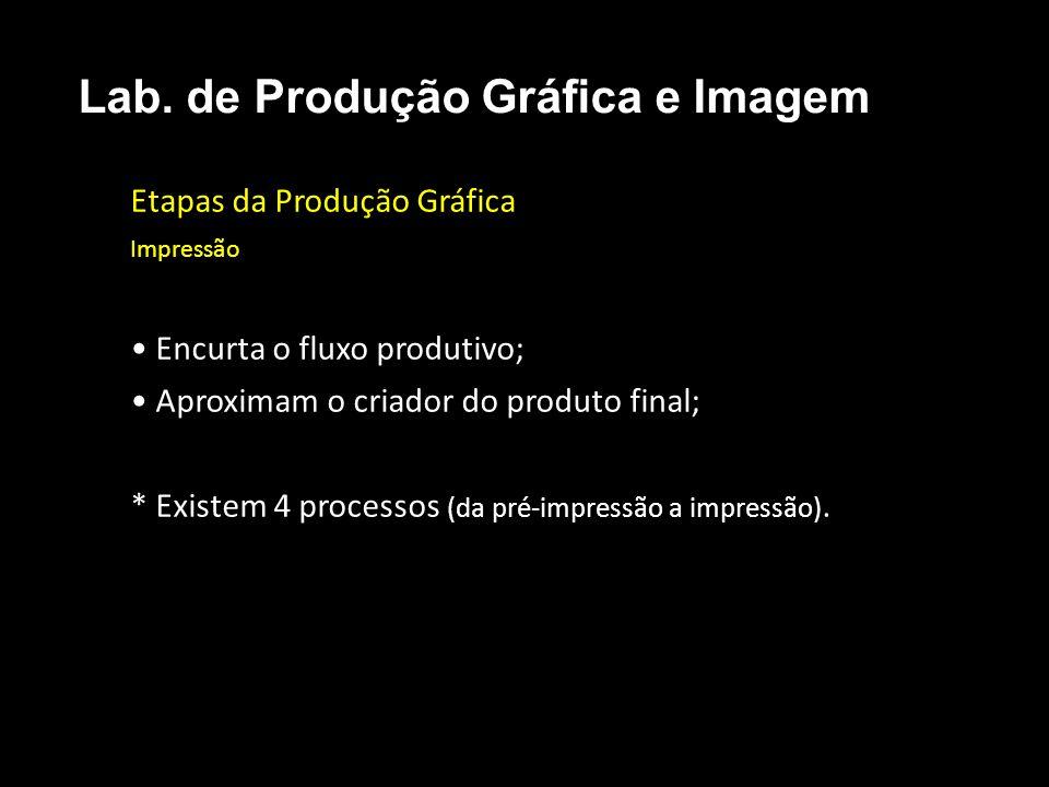 Etapas da Produção Gráfica Impressão Encurta o fluxo produtivo; Aproximam o criador do produto final; * Existem 4 processos (da pré-impressão a impres