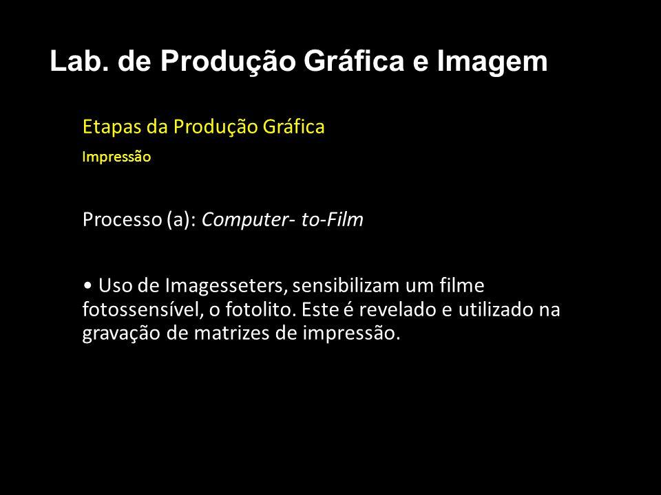 Etapas da Produção Gráfica Impressão Processo (a): Computer- to-Film Uso de Imagesseters, sensibilizam um filme fotossensível, o fotolito. Este é reve