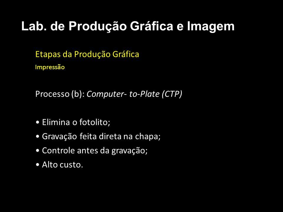 Etapas da Produção Gráfica Impressão Processo (b): Computer- to-Plate (CTP) Elimina o fotolito; Gravação feita direta na chapa; Controle antes da grav