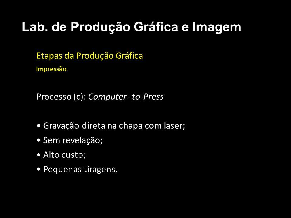 Etapas da Produção Gráfica Impressão Processo (c): Computer- to-Press Gravação direta na chapa com laser; Sem revelação; Alto custo; Pequenas tiragens