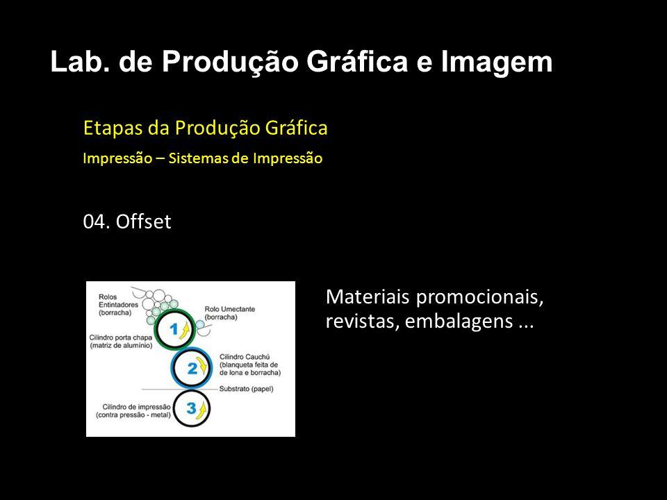 Etapas da Produção Gráfica Impressão – Sistemas de Impressão 04. Offset Lab. de Produção Gráfica e Imagem Materiais promocionais, revistas, embalagens