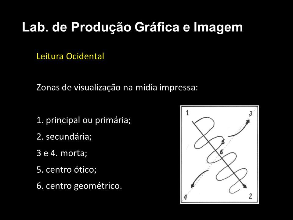 Leitura Ocidental Zonas de visualização na mídia impressa: 1. principal ou primária; 2. secundária; 3 e 4. morta; 5. centro ótico; 6. centro geométric
