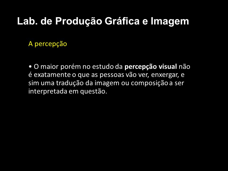 A percepção O maior porém no estudo da percepção visual não é exatamente o que as pessoas vão ver, enxergar, e sim uma tradução da imagem ou composiçã
