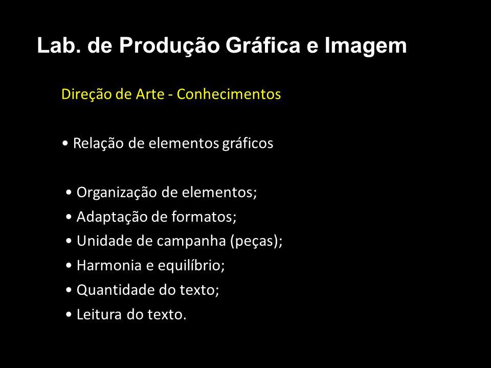Direção de Arte - Conhecimentos Relação de elementos gráficos Organização de elementos; Adaptação de formatos; Unidade de campanha (peças); Harmonia e