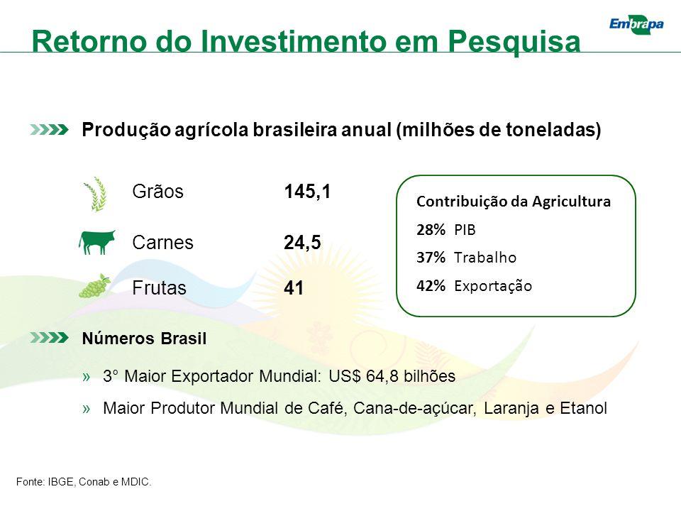 Produção agrícola brasileira anual (milhões de toneladas) Grãos145,1 Carnes24,5 Frutas41 Números Brasil »3° Maior Exportador Mundial: US$ 64,8 bilhões »Maior Produtor Mundial de Café, Cana-de-açúcar, Laranja e Etanol Fonte: IBGE, Conab e MDIC.