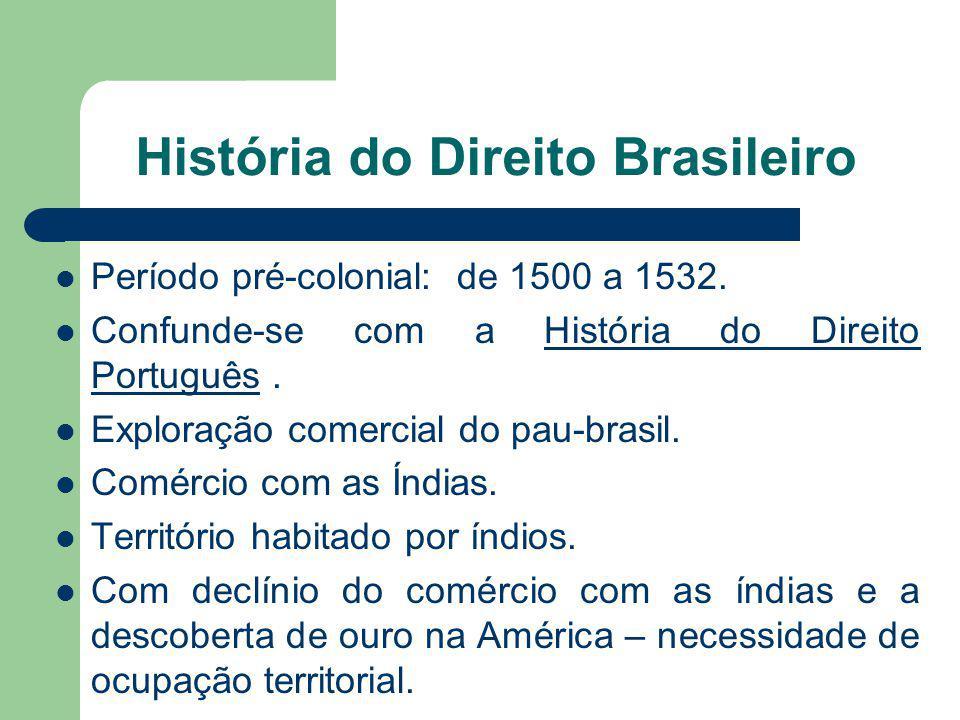 História do Direito Brasileiro Período pré-colonial: de 1500 a 1532. Confunde-se com a História do Direito Português.História do Direito Português Exp