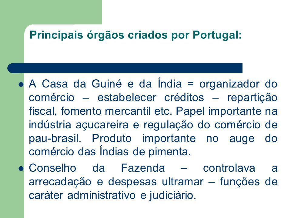 Principais órgãos criados por Portugal: A Casa da Guiné e da Índia = organizador do comércio – estabelecer créditos – repartição fiscal, fomento merca