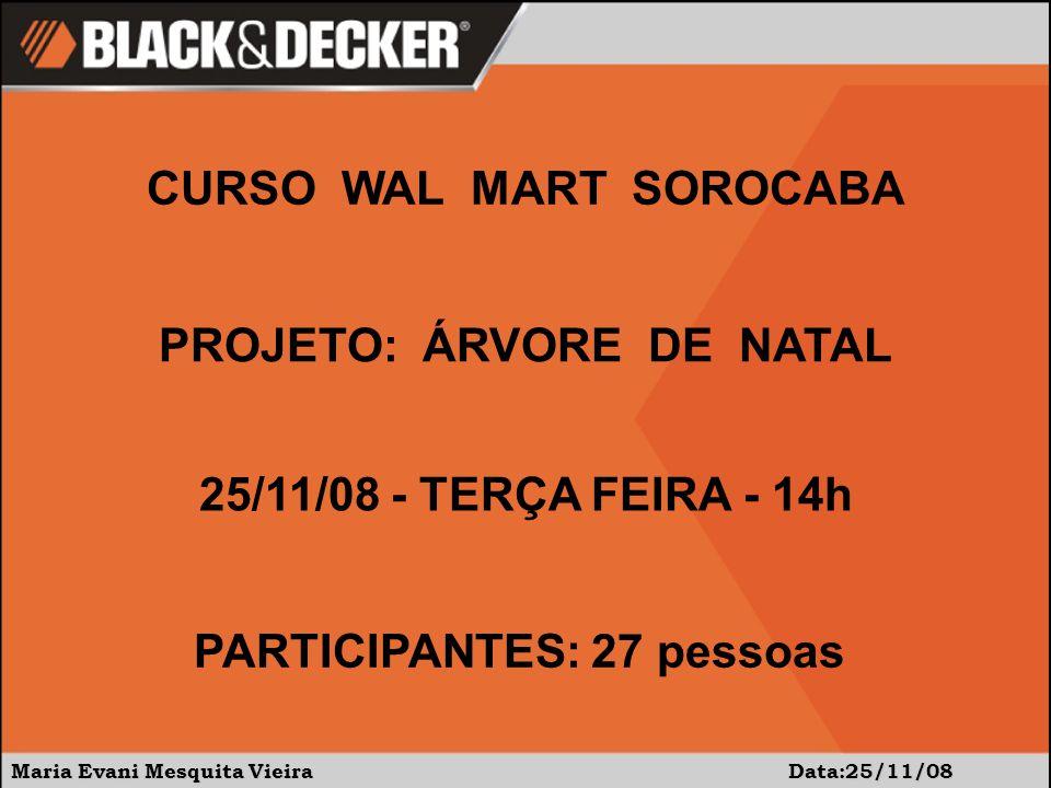 Maria Evani Mesquita Vieira Data:25/11/08 CURSO WAL MART SOROCABA PROJETO: ÁRVORE DE NATAL 25/11/08 - TERÇA FEIRA - 14h PARTICIPANTES: 27 pessoas
