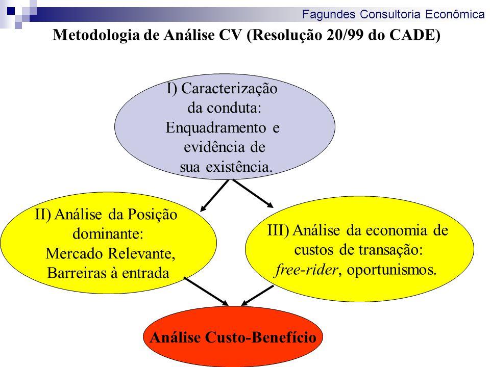 Fagundes Consultoria Econômica Metodologia de Análise CV (Resolução 20/99 do CADE) I) Caracterização da conduta: Enquadramento e evidência de sua exis