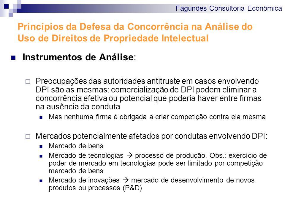 Fagundes Consultoria Econômica Princípios da Defesa da Concorrência na Análise do Uso de Direitos de Propriedade Intelectual Instrumentos de Análise: