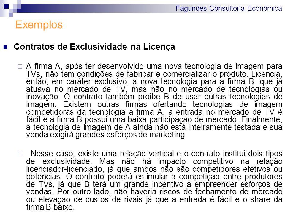 Fagundes Consultoria Econômica Exemplos Contratos de Exclusividade na Licença A firma A, após ter desenvolvido uma nova tecnologia de imagem para TVs,