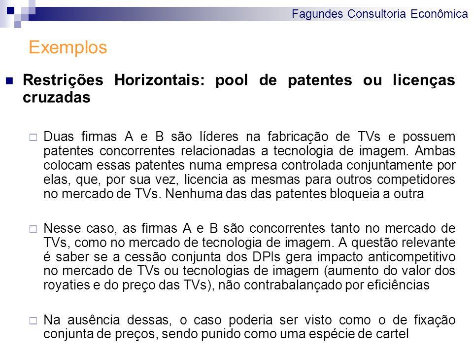 Fagundes Consultoria Econômica Exemplos Restrições Horizontais: pool de patentes ou licenças cruzadas Duas firmas A e B são líderes na fabricação de T