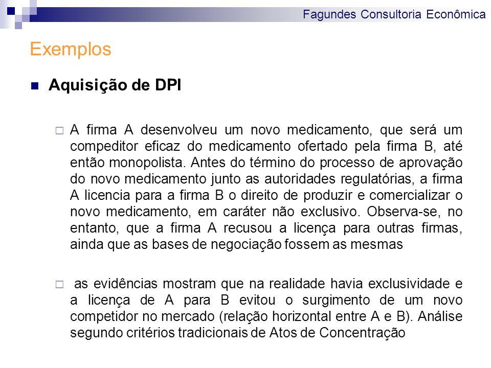 Fagundes Consultoria Econômica Exemplos Aquisição de DPI A firma A desenvolveu um novo medicamento, que será um compeditor eficaz do medicamento ofert