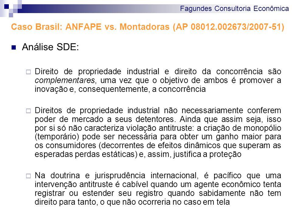 Fagundes Consultoria Econômica Caso Brasil: ANFAPE vs. Montadoras (AP 08012.002673/2007-51) Análise SDE: Direito de propriedade industrial e direito d