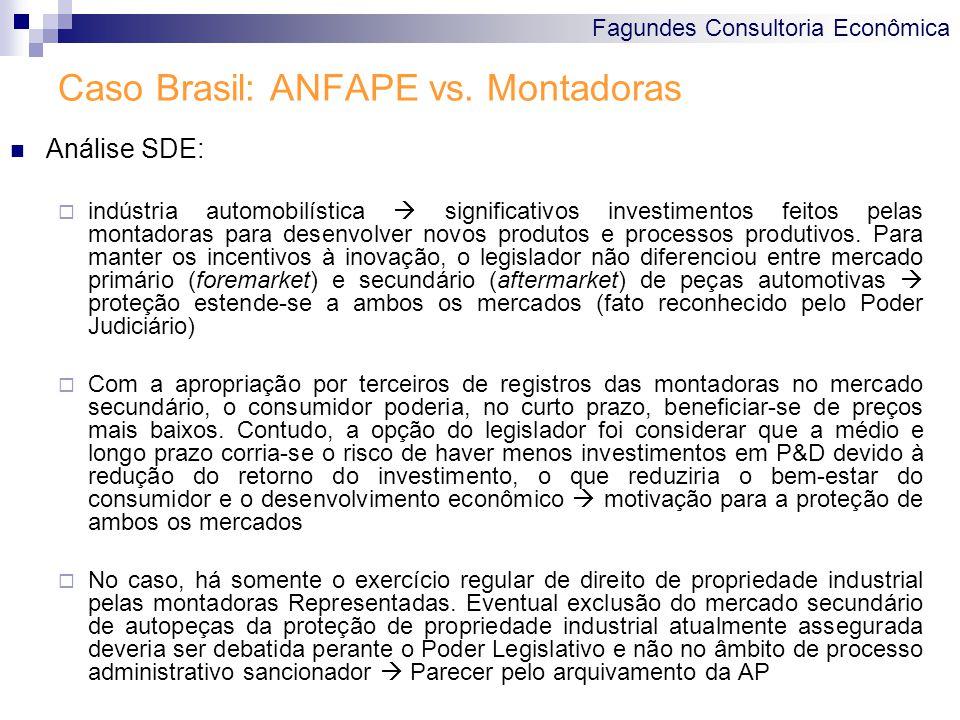 Fagundes Consultoria Econômica Caso Brasil: ANFAPE vs. Montadoras Análise SDE: indústria automobilística significativos investimentos feitos pelas mon