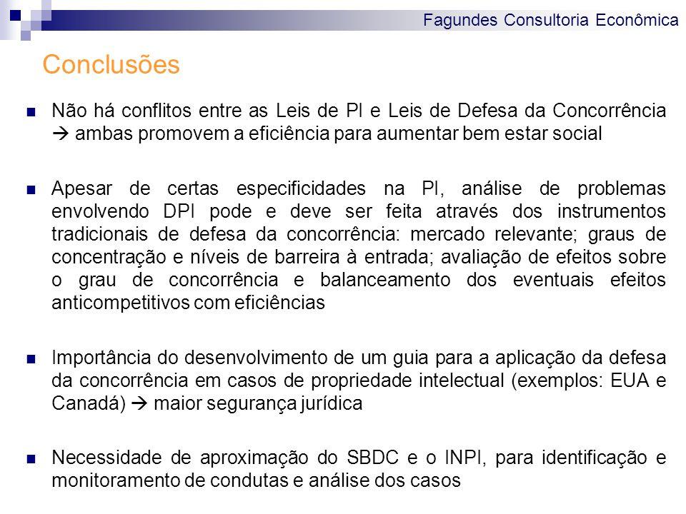Fagundes Consultoria Econômica Conclusões Não há conflitos entre as Leis de PI e Leis de Defesa da Concorrência ambas promovem a eficiência para aumen