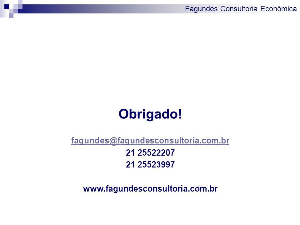 Fagundes Consultoria Econômica Obrigado! fagundes@fagundesconsultoria.com.br 21 25522207 21 25523997 www.fagundesconsultoria.com.br