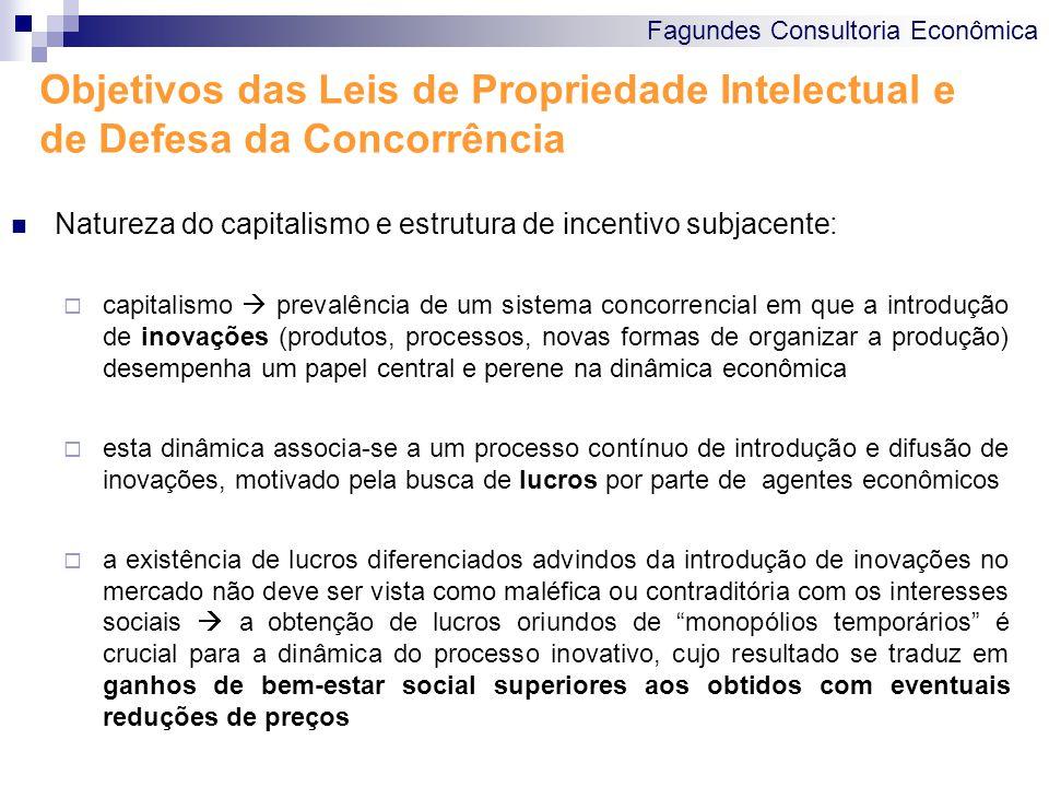 Fagundes Consultoria Econômica Objetivos das Leis de Propriedade Intelectual e de Defesa da Concorrência Natureza do capitalismo e estrutura de incent
