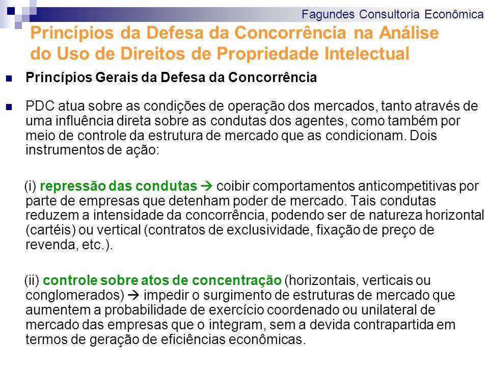 Fagundes Consultoria Econômica Princípios da Defesa da Concorrência na Análise do Uso de Direitos de Propriedade Intelectual Princípios Gerais da Defesa da Concorrência Metodologia de análise de atos de concentração Metodologias de análise de condutas horizontais e verticais Horizontais: Cartéis (per se) e preços predatórios Verticais: contratos de exclusividade, exclusividade territorial, fixação de preço de revenda, discriminação de preços e vendas casadas