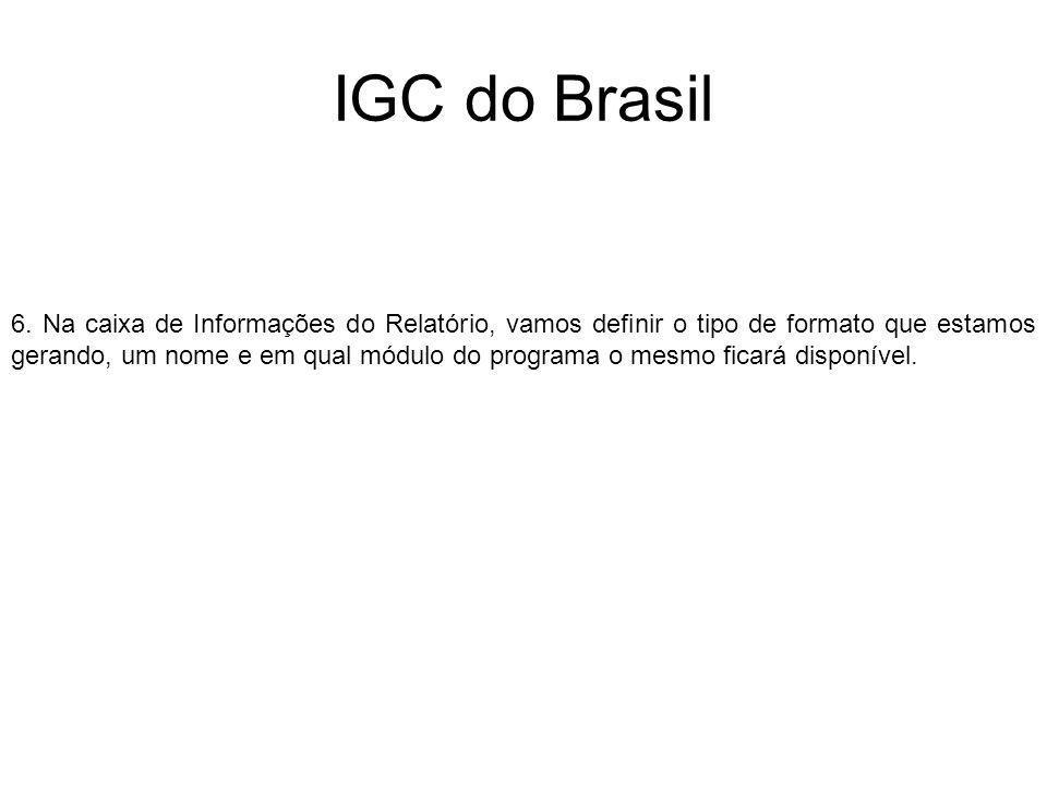 IGC do Brasil 6. Na caixa de Informações do Relatório, vamos definir o tipo de formato que estamos gerando, um nome e em qual módulo do programa o mes