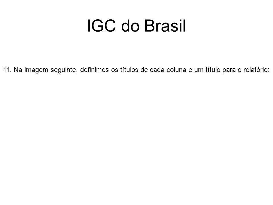 IGC do Brasil 11. Na imagem seguinte, definimos os títulos de cada coluna e um título para o relatório: