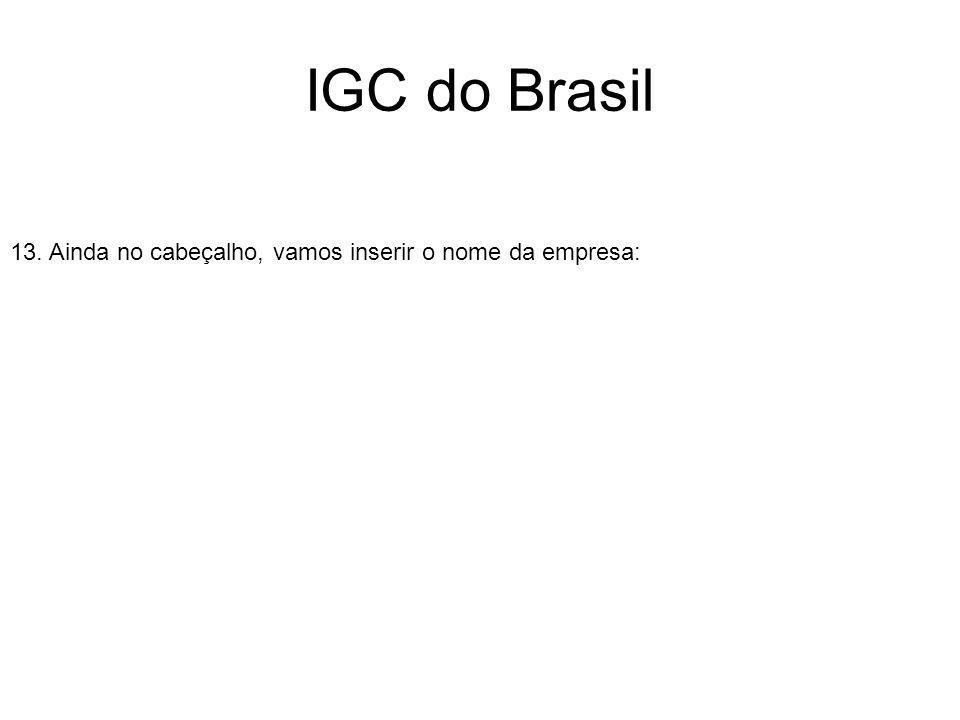 IGC do Brasil 13. Ainda no cabeçalho, vamos inserir o nome da empresa: