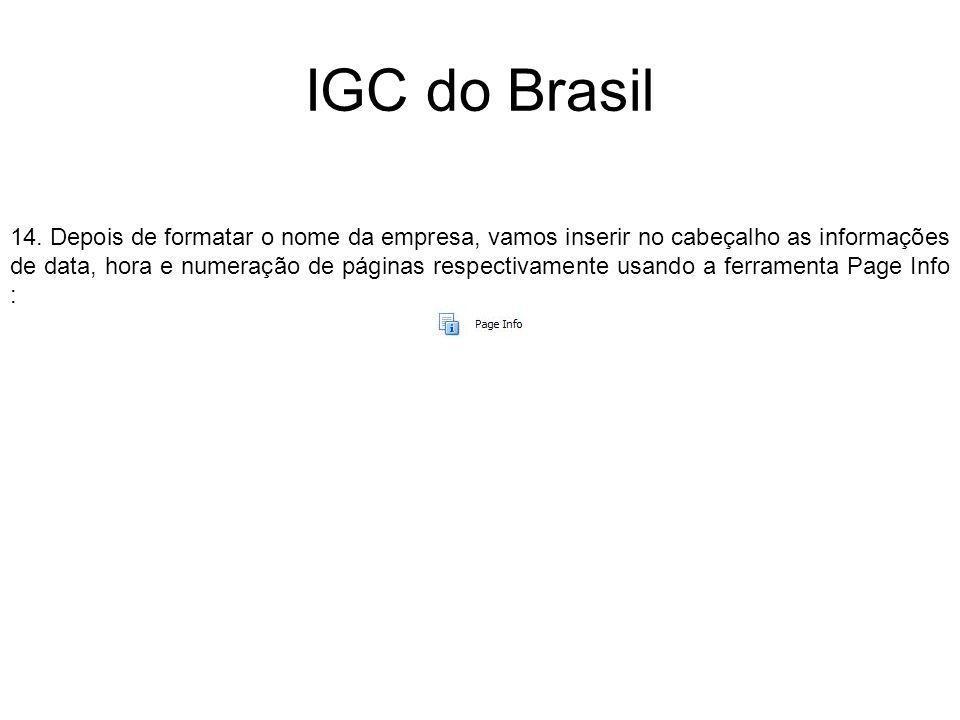 IGC do Brasil 14. Depois de formatar o nome da empresa, vamos inserir no cabeçalho as informações de data, hora e numeração de páginas respectivamente