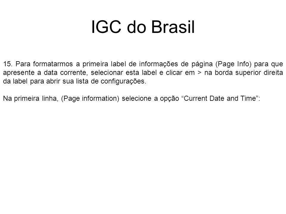IGC do Brasil 15. Para formatarmos a primeira label de informações de página (Page Info) para que apresente a data corrente, selecionar esta label e c