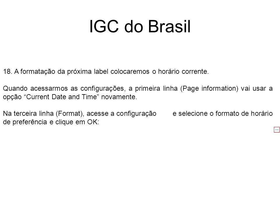 IGC do Brasil 18. A formatação da próxima label colocaremos o horário corrente. Quando acessarmos as configurações, a primeira linha (Page information
