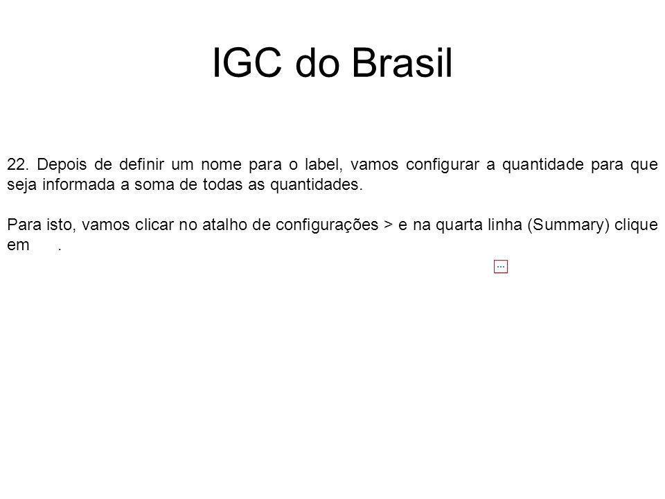 IGC do Brasil 22. Depois de definir um nome para o label, vamos configurar a quantidade para que seja informada a soma de todas as quantidades. Para i