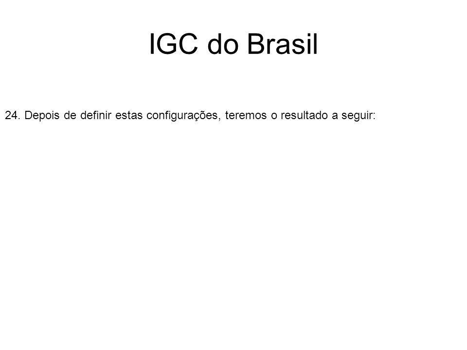 IGC do Brasil 24. Depois de definir estas configurações, teremos o resultado a seguir: