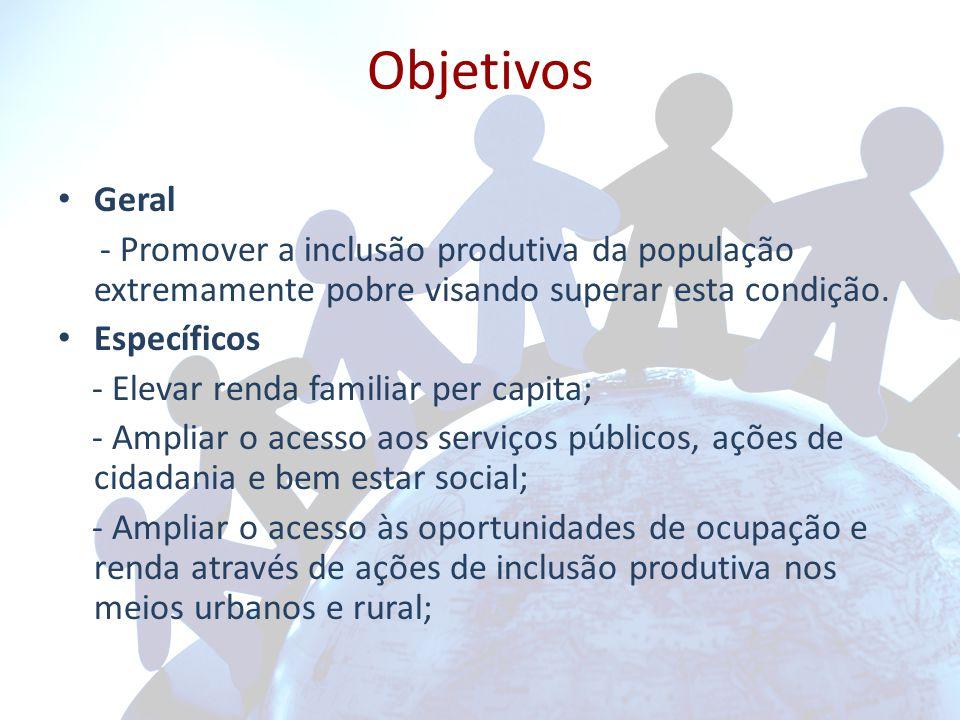 Objetivos Geral - Promover a inclusão produtiva da população extremamente pobre visando superar esta condição.