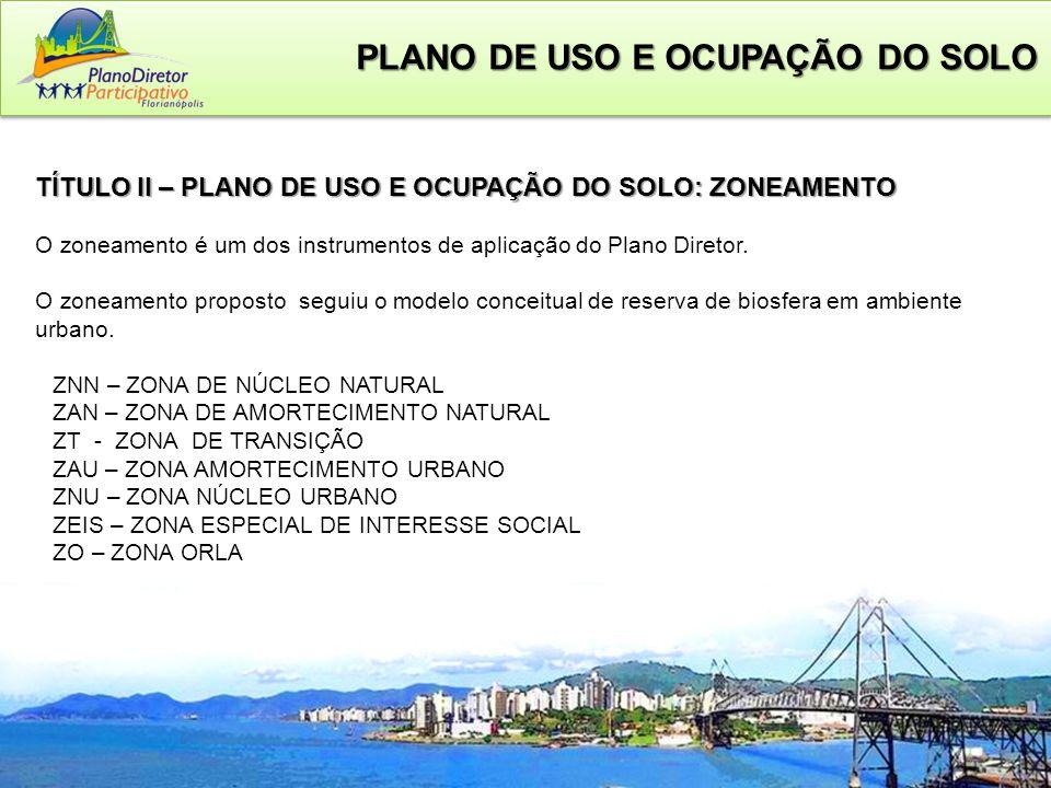TÍTULO II – PLANO DE USO E OCUPAÇÃO DO SOLO: ZONEAMENTO O zoneamento é um dos instrumentos de aplicação do Plano Diretor.