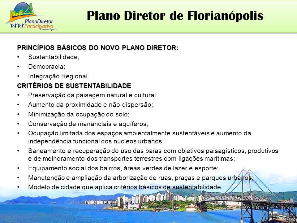 PRINCÍPIOS BÁSICOS DO NOVO PLANO DIRETOR: Sustentabilidade; Democracia; Integração Regional.